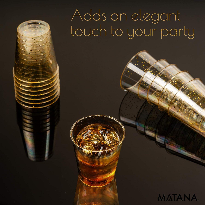 Shots 1oz R/éutilisables BBQs Gel/ée de Vodka No/ël. F/êtes - Jetables Mariages 150 Verres /à Shot en Plastique Dur avec des Paillettes dor /Él/égantes 30ml Incassables Verres /à Liqueur