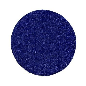 Teppich rund blau  Uni Hochflor Shaggy Teppich Einfarbig Blau Neu Öko Tex 120x120 cm ...