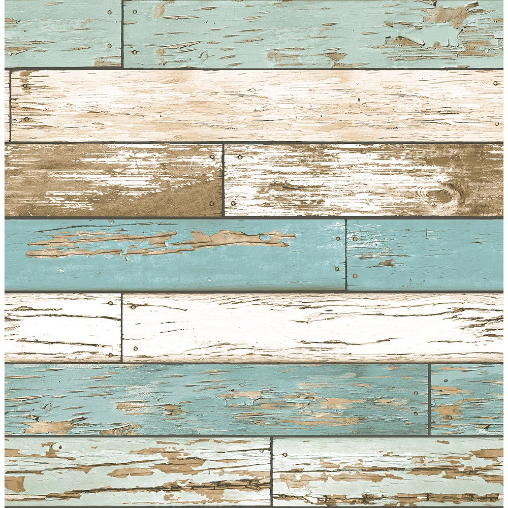 A-Street Prints 2701-22318 Scrap Wood Weathered Texture Turquoise