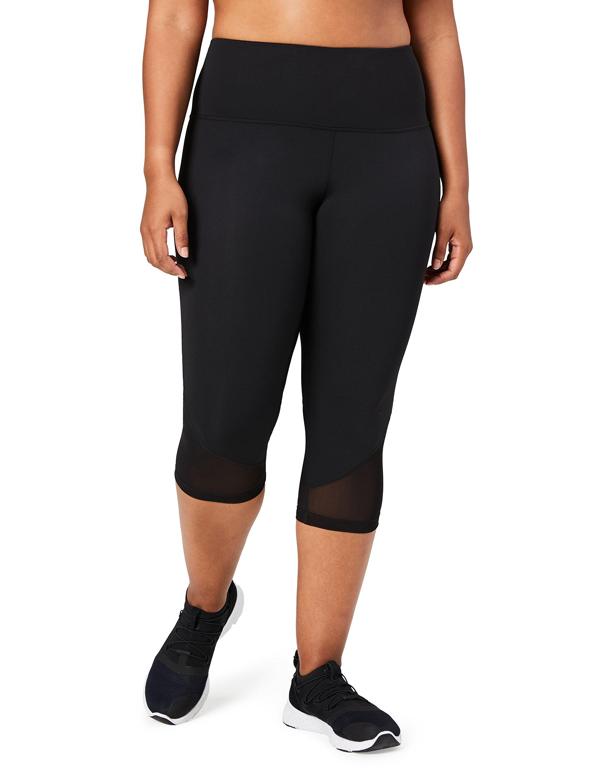 Core 10 Women's Plus Size Race Day High Waist Run Mesh Capri Legging - 19'', Black, 3X (22W-24W)