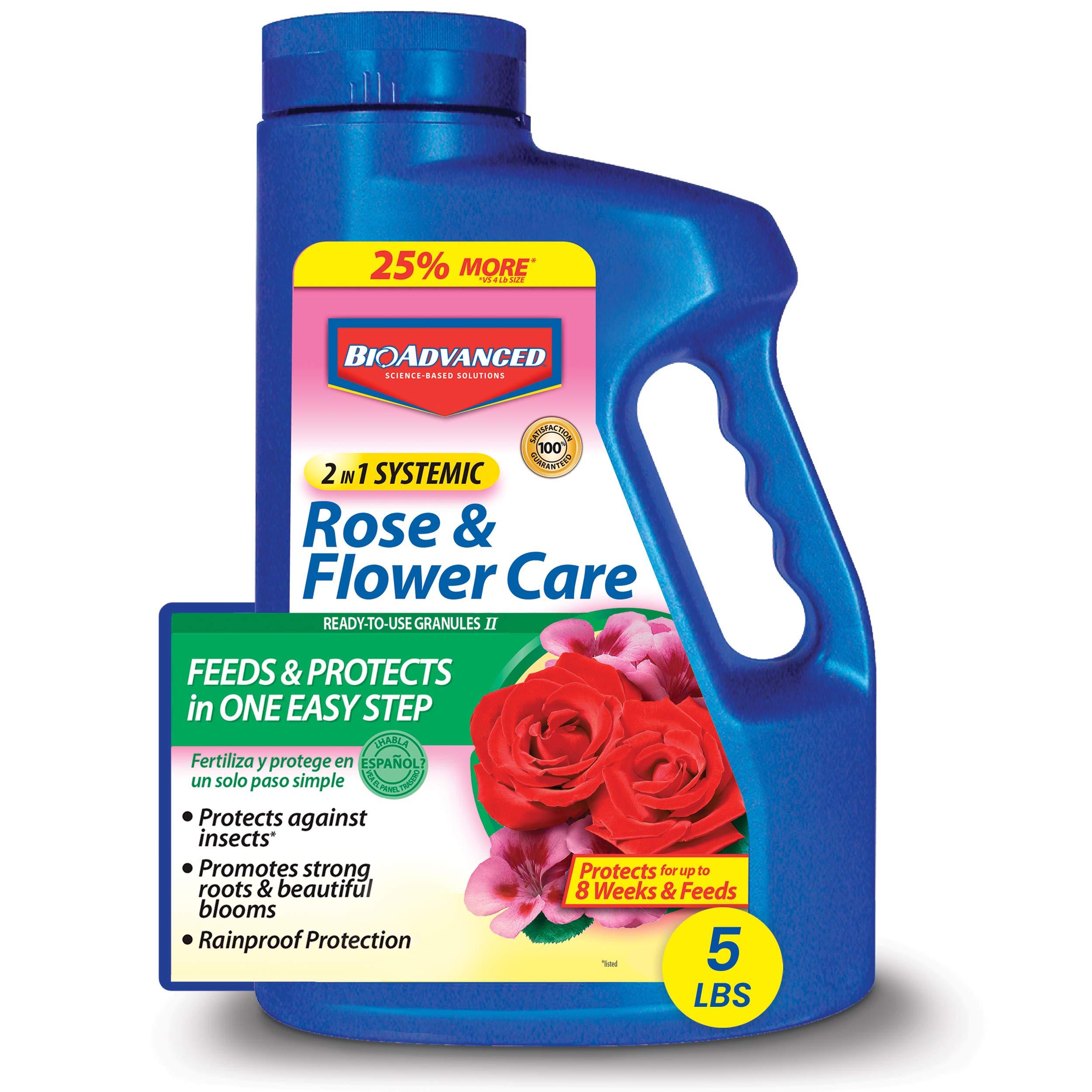 BioAdvanced 701100A 2-in-1 Systemic Rose & Flower Care Fertilizer, Insect Killer, 5-Pound, Granules