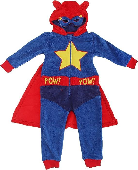 Pijama de una pieza / mono / onesie con diseño de superhéroe con capa y antifaz para niños