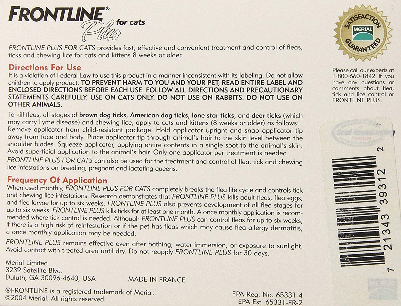 FRONTLINE PLUS for Cats Flea & Tick Control Green 6 Months 10pk