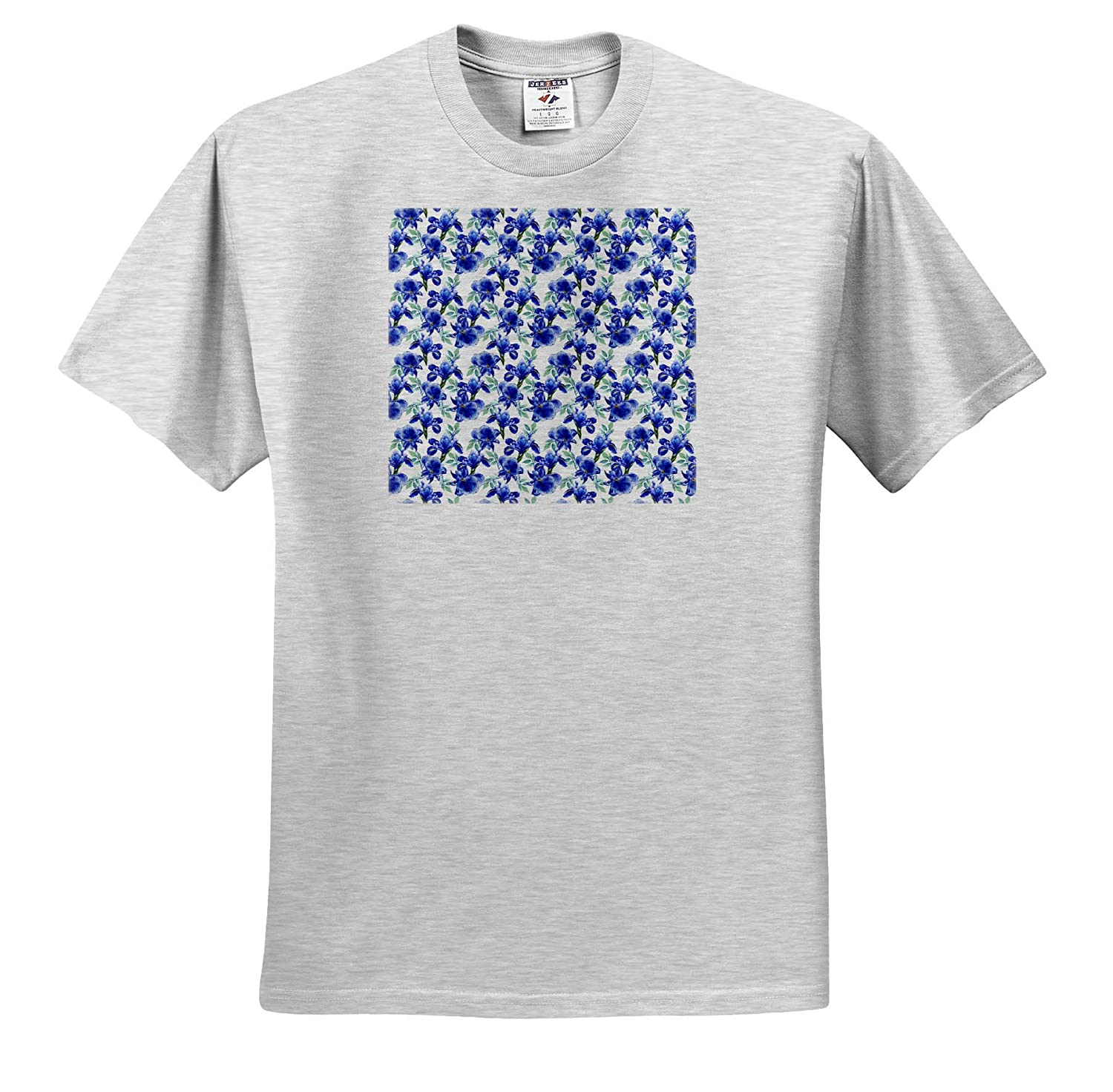 Pattern Floral Iris T-Shirts Dark Green Leaves on White Background 3dRose Alexis Design Pattern of Blue iris Flowers