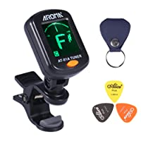 AROMA® Accurate Tuner Clip On Large LCD Color Display 5 Tuning Modes Auto-OFF Quick Change Sensitive Design with Pick Holder and 3 Alice Plectrums for Guitar, Bass, Violin, Ukulele and more Instruments AT-01A (with Battery)