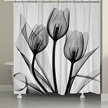 Amazoncom Laural Home Black And White Tulips Shower Curtain - Black and white flower shower curtain