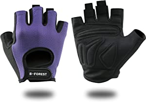 B-Forest Workout Gloves for Men Women Fingerless Gloves for Weightlifting, Training, Fitness, Hanging, Pull-ups (Black, Pink, Purple)