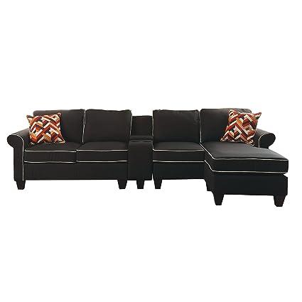 Amazon.com: ACME Kelliava Black Fabric Sectional Sofa with ...