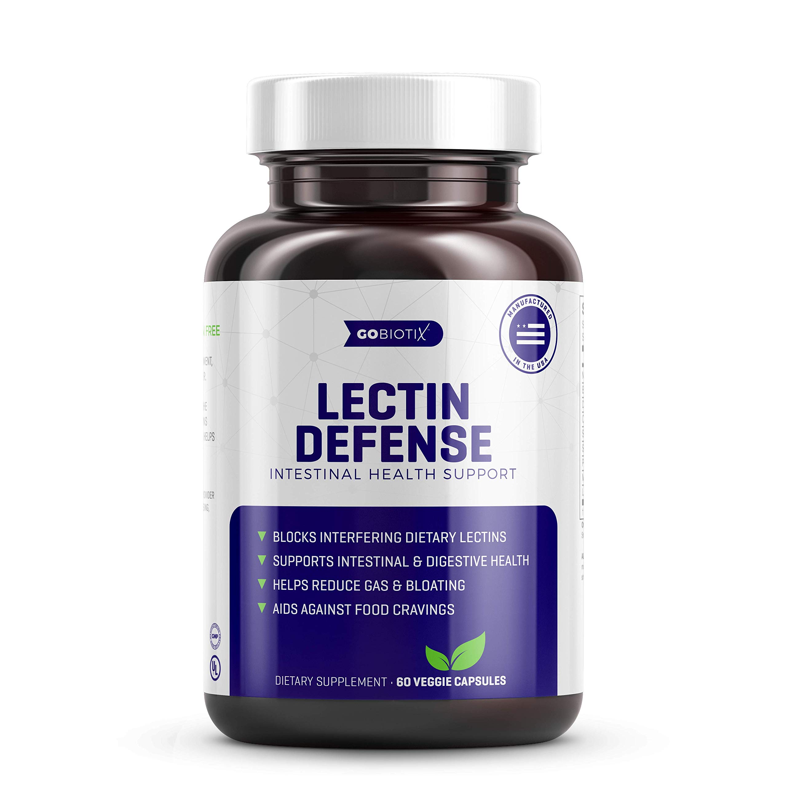 GoBiotix Lectin Defense - Blocks Interfering Dietary Lectins, Supports Intestinal & Digestive Health, Helps Reduce Gas, Aids Against Food Cravings - Non-GMO, Gluten Free - 60 Vegan Capsules by GoBiotix