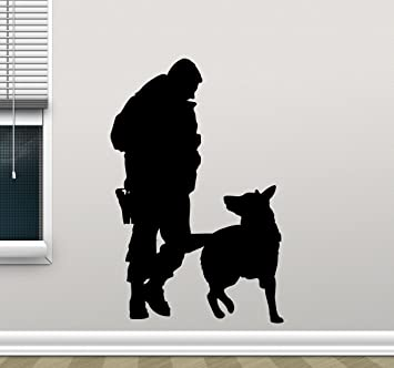 Policeman And K 9 Dog Wall Decal Cynologist Vinyl Sticker Police K9 Dog  Wall Art