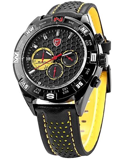 Shark SH081 - Reloj Hombre de Cuarzo, Correa de Cuero Negro: Amazon.es: Relojes