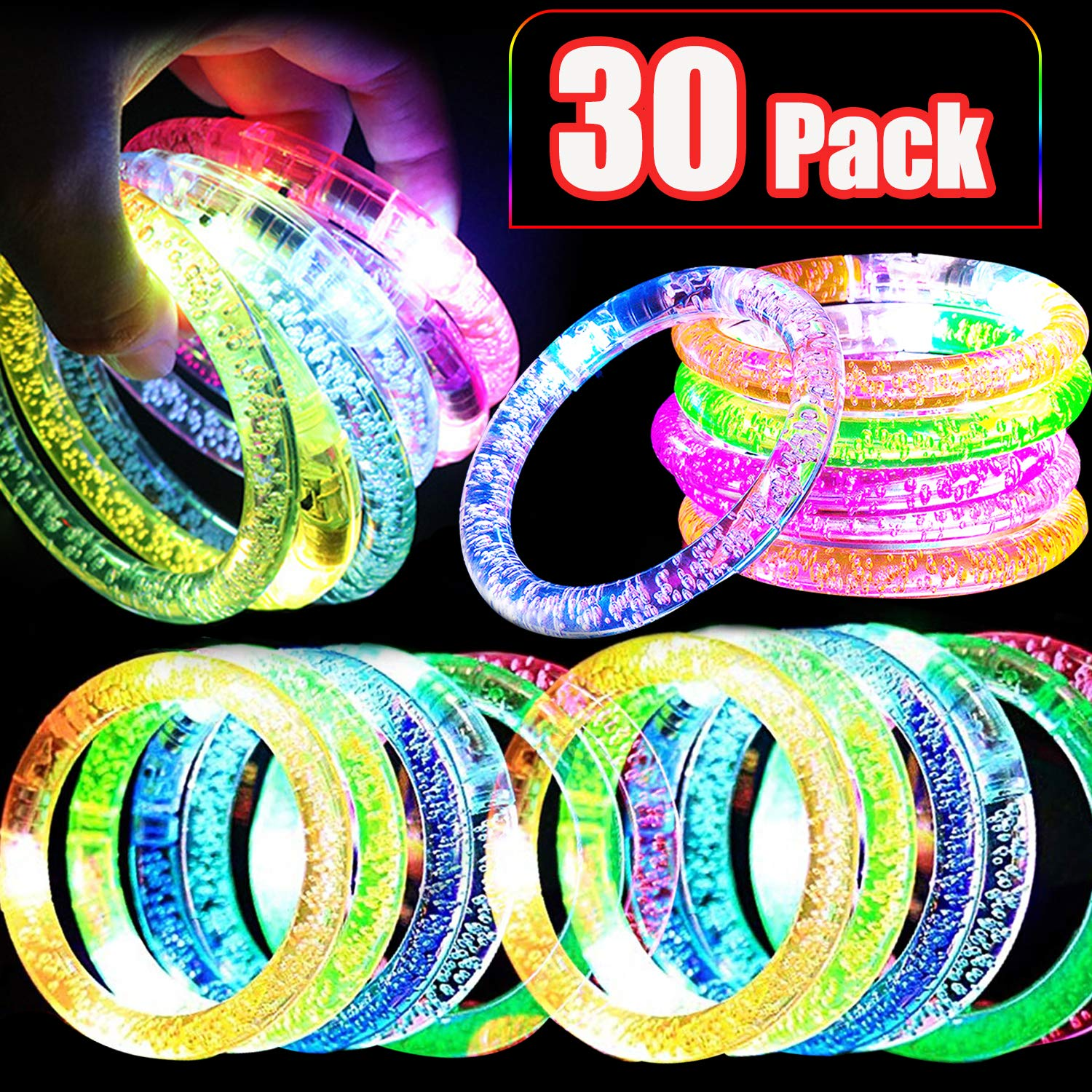 30 Pack LED Bracelet Bulk Glow Sticks Bracelet Party Pack Party Favors for Kids Glow in the Dark for Halloween Parties Stage Bar Festival CelebrationsRave Party Classroom Party by TURNMEON