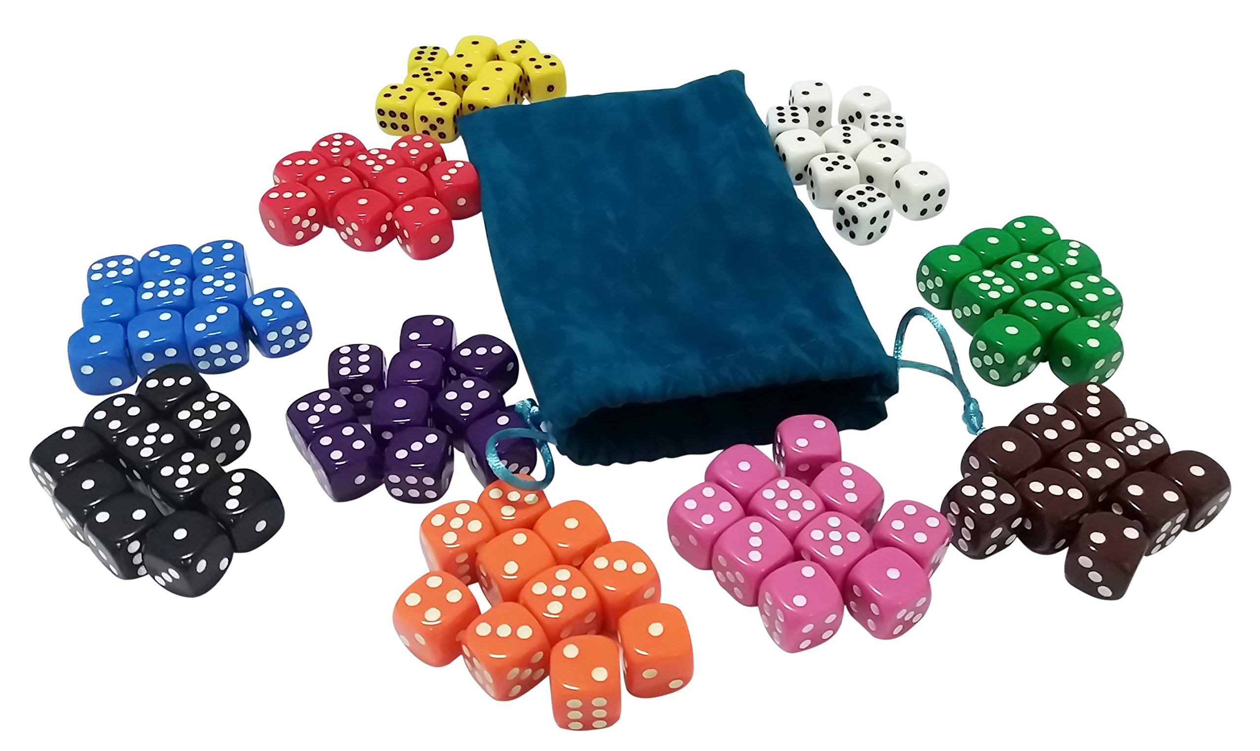 Visual Elite 100 Solid Colored Dice Set (Deep-Sea Corals Collection) with Dice Bag by Visual Elite