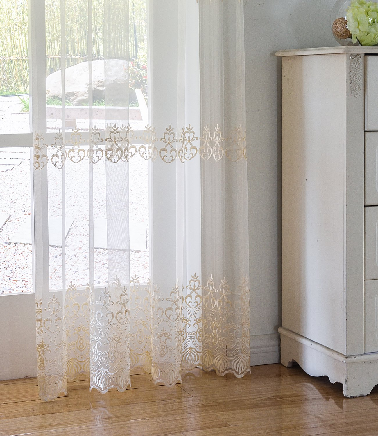 Aside Bside Sheer Curtains Tiny Arrow Embroidered Pattern Relaxed Casual Style Rod Pocket Top for Windows (1 Panel, W 52 x L 104 inch, White 18) -1281643521048518C1PGC by Aside Bside (Image #7)