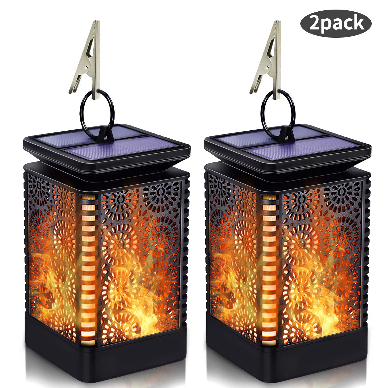 Solar Lantern Lights Outdoor Hanging with Flickering Dancing Flame, Waterproof Solar Powered LED Umbrella Lantern Lights Decoration for Patio Yard Garden Pathway Table, 2 Pack