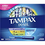 Tampax Pearl Plastic Tampons, Multipack, Light/Regular/Super Absorbency, 47 Count, Unscented