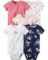Carter's Baby Girls 5-Pack Short-Sleeve Original Bodysuits (Pink Owls)