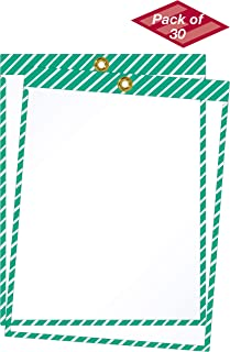 product image for EnvyPak Striped Job Ticket Holders (Green and White Stripes) - Pack of 30 - Top-Loading with Brass Eyelet. Commonly Used to Designate Safety and First Aid Applications