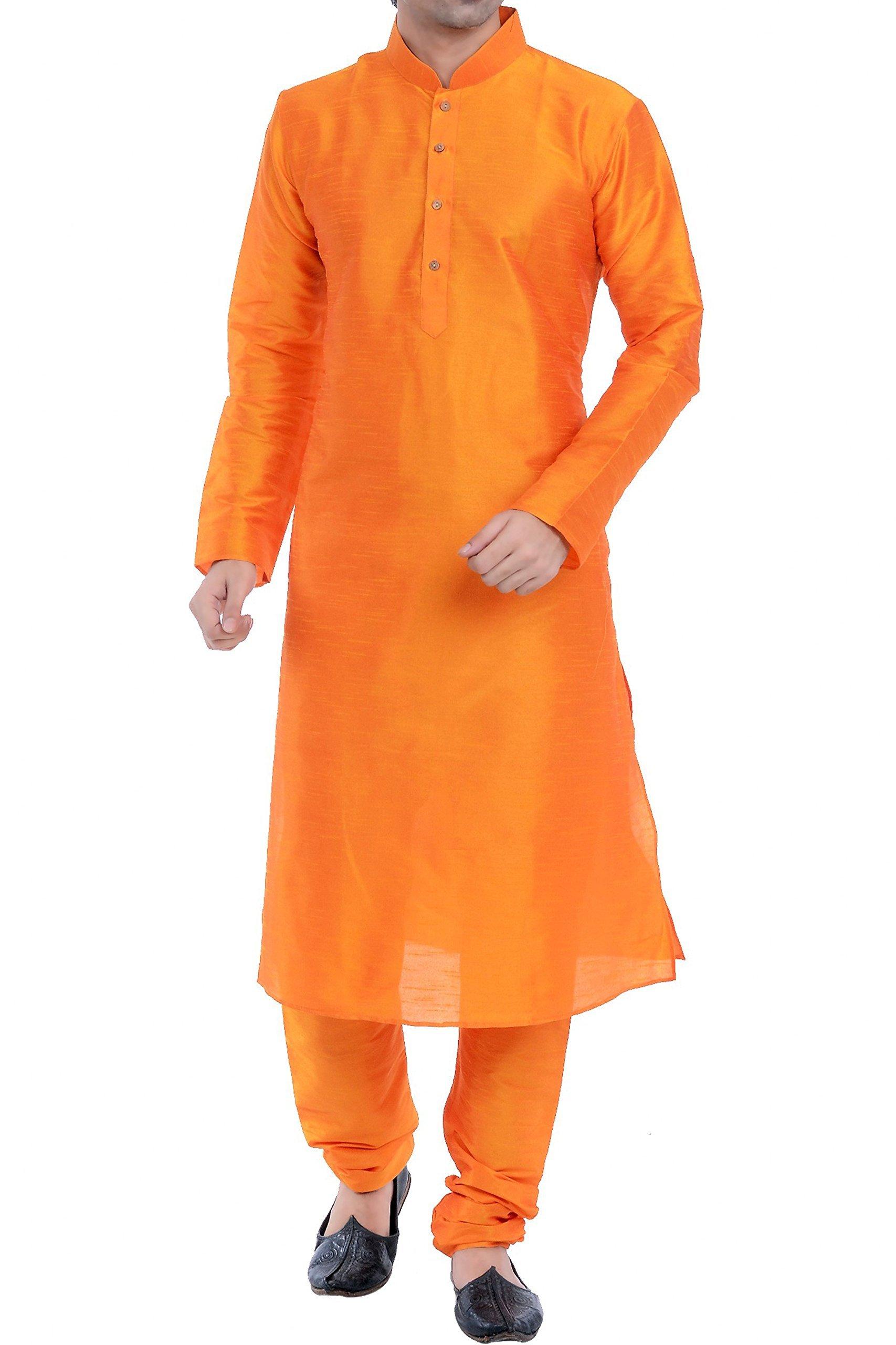 Vastramay Men's Cotton Silk Kurta & Pyjama Set 42 Orange