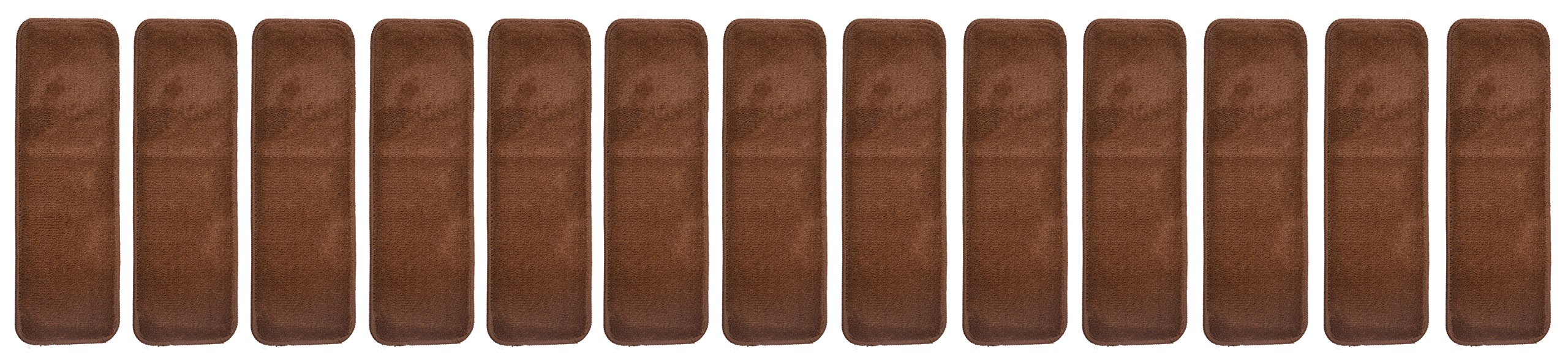 Aris Collection Stair Tread Treads Indoor 8½ inch x 26½ inch Machine Washable Skid Slip Resistant Carpet Stair Tread Treads (Set of 13, Brown)