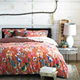Tropical Garden Luxury 3 Piece Duvet Cover Set Island Tree Branch and Birds Multicolored Floral Pattern 100-percent brushed C