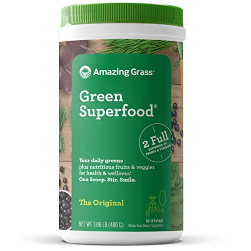 Amazing Grass Green Superfood Super Greens Powder with Spirulina, Chlorella, Digestive Enzymes Probiotics, Original, 60 Servings