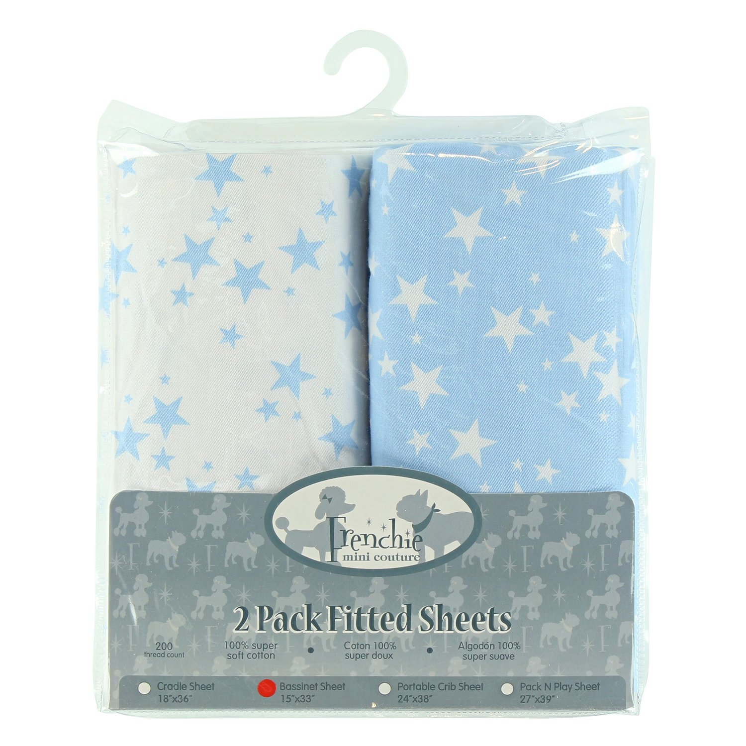 2 Pack Fitted Bassinet Sheets, Blue Stars, Frenchie Mini Couture