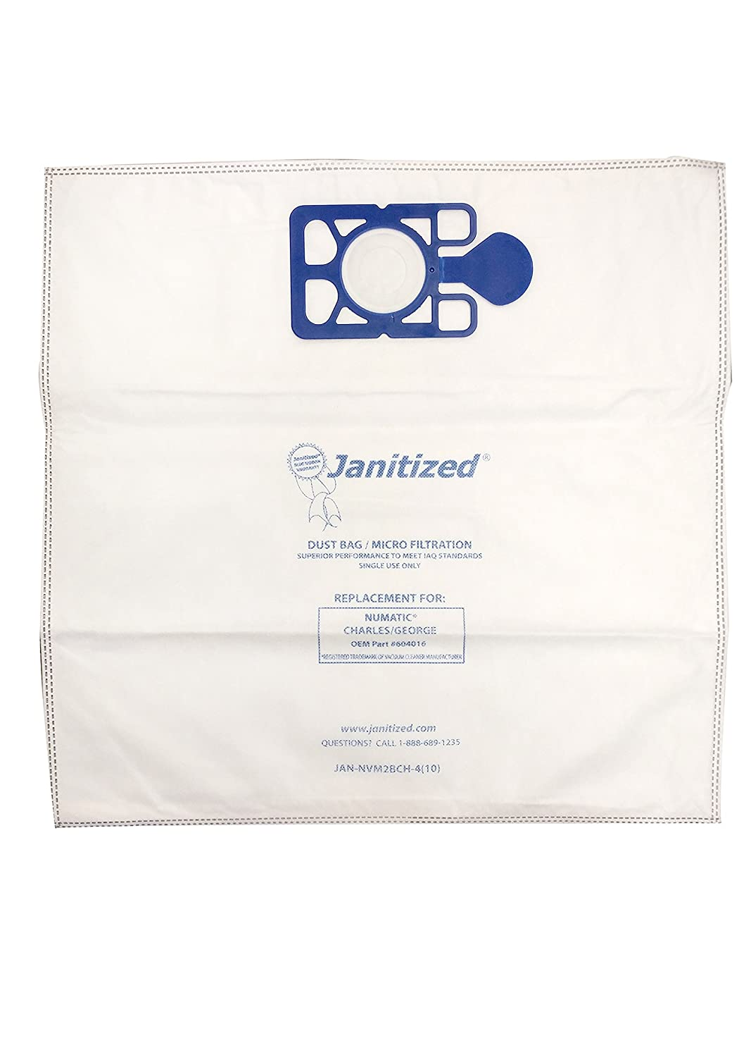 Janitized JAN-NVM2BCH-4(10) High Efficiency Premium Replacement Commercial Vacuum Bag for Nacecare and Numatic Charles/George, 300 Series Vacuum Cleaners, OEM#604016 (Pack of 10)