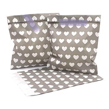 25 Frau Wundervoll Papiertüten / Geschenktüten / Candy Paper Bags   Taupe/  Helles Grau Mit