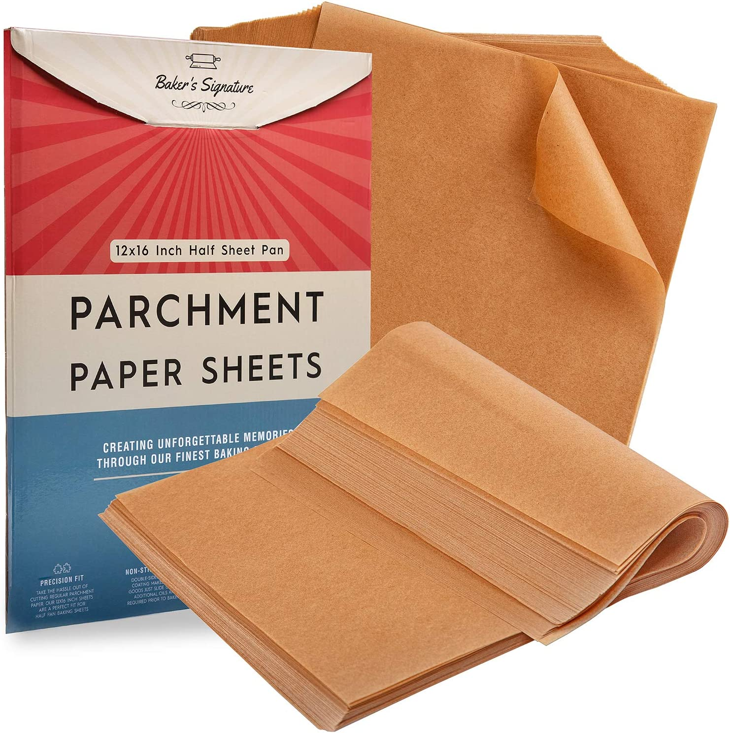 Parchment Paper Baking Sheets by Baker's Signature | Precut Non-Stick & Unbleached - Will Not Curl or Burn - Non-Toxic & Comes in Convenient Packaging - 12x16 Inch Pack of 120: Kitchen & Dining