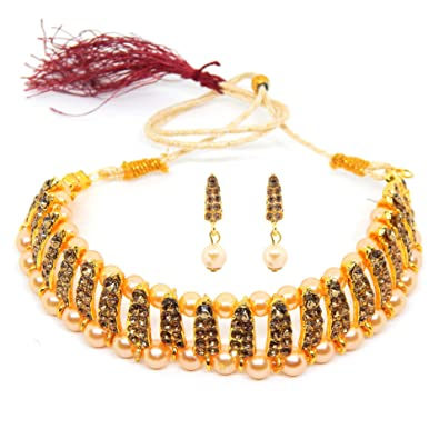 abaa32446e672 Fresh Vibes Traditional Pearl Choker Marriage Party Wear Jewellery Set for  Women - Golden Necklace & Earrings Jewelry Set for Ladies
