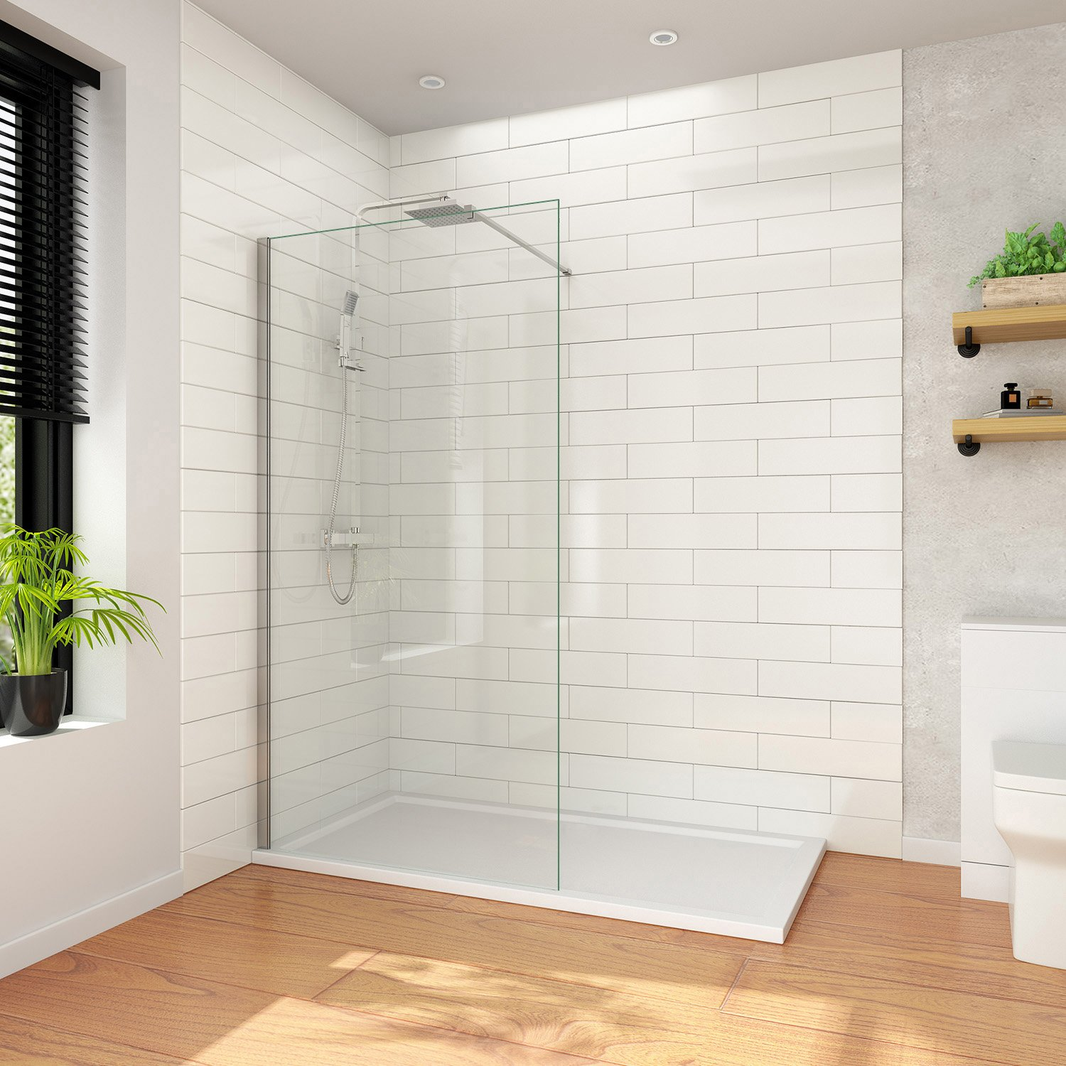 8mm Easy Clean Glass 1000mm ELEGANT 760mm Walk in Shower Enclosure 6mm Tempered Safety Glass Wetroom Shower Screen Panel