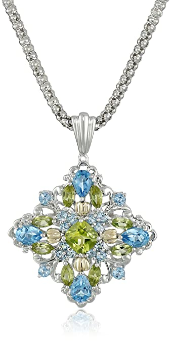 Amazon sterling silver and 14k yellow gold blue topaz and sterling silver and 14k yellow gold blue topaz and peridot pendant necklace 18quot aloadofball Images