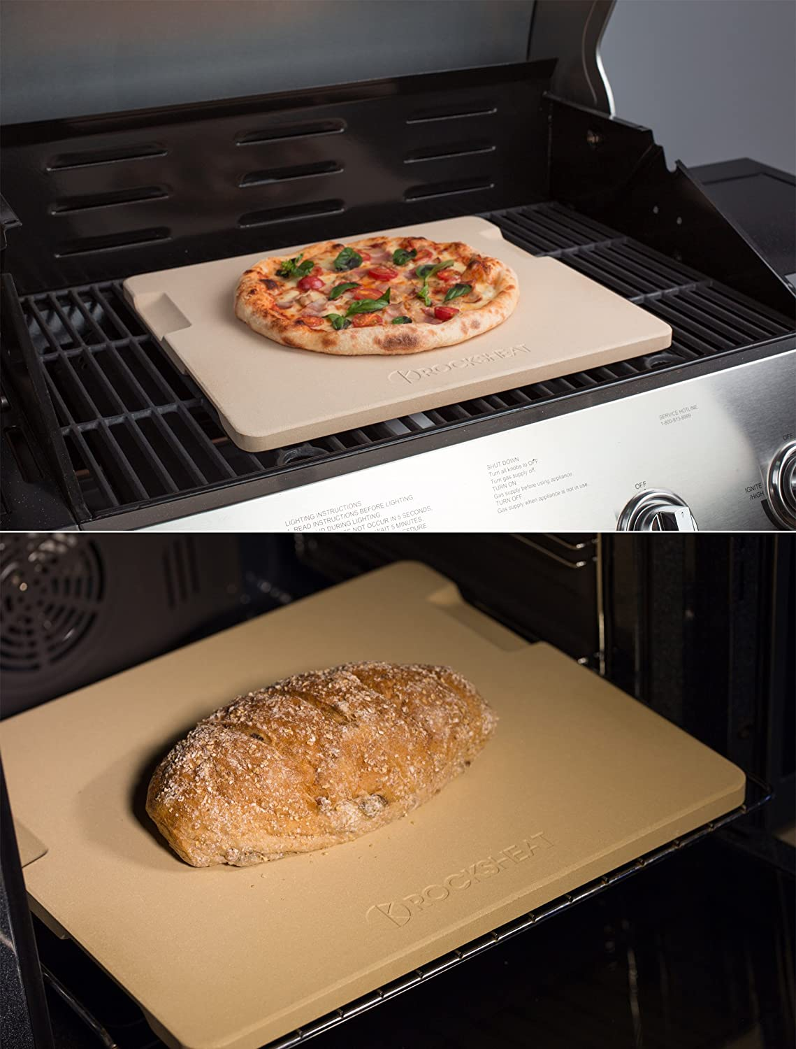 """Pizza Stone Baking & Grilling Stone, Perfect for Oven, BBQ and Grill. Innovative Double - faced Built - in 4 Handles Design (14"""" x 16"""" x 0.67"""" Rectangular) : Garden & Outdoor"""