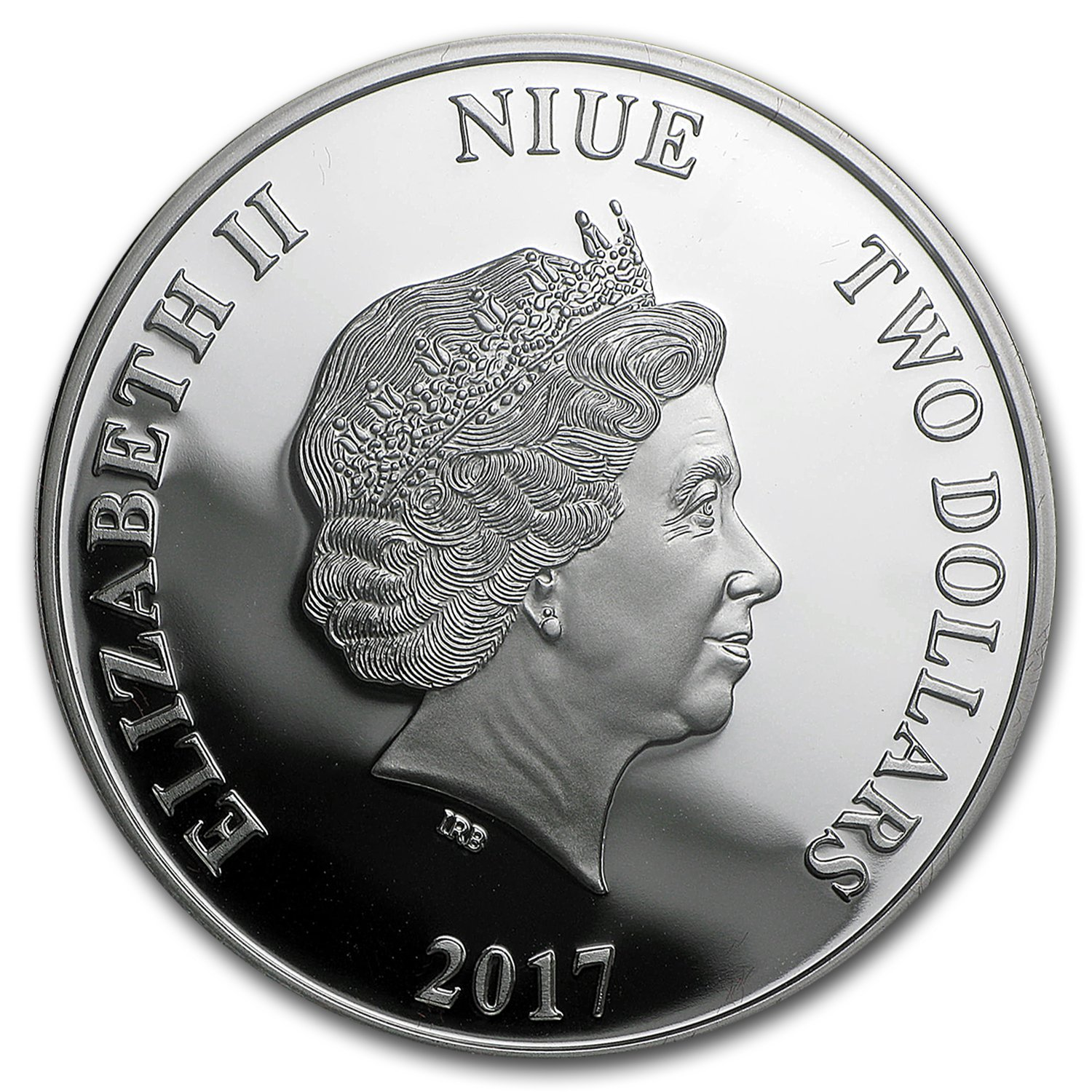 SKU #103374 2017 New Zealand 1 oz Proof Silver $2 Lunar Year of the Rooster