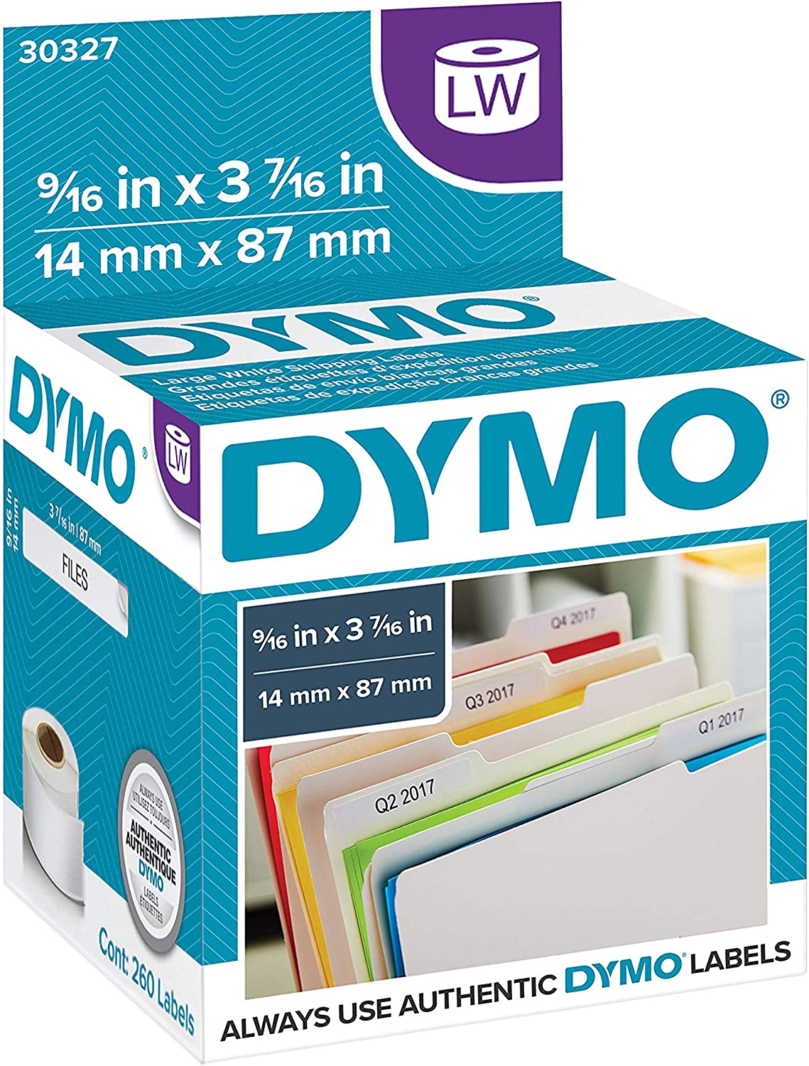 DYMO LW 1-Up File Folder Labels for LabelWriter Label Printers, White, 9/16'' x 3-7/16'', 2 Rolls of 130 (30327) : Printer Labels : Office Products