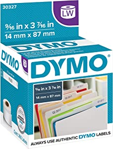 DYMO LW 1-Up File Folder Labels for LabelWriter Label Printers, White, 9/16'' x 3-7/16'', 2 Rolls of 130 (30327)