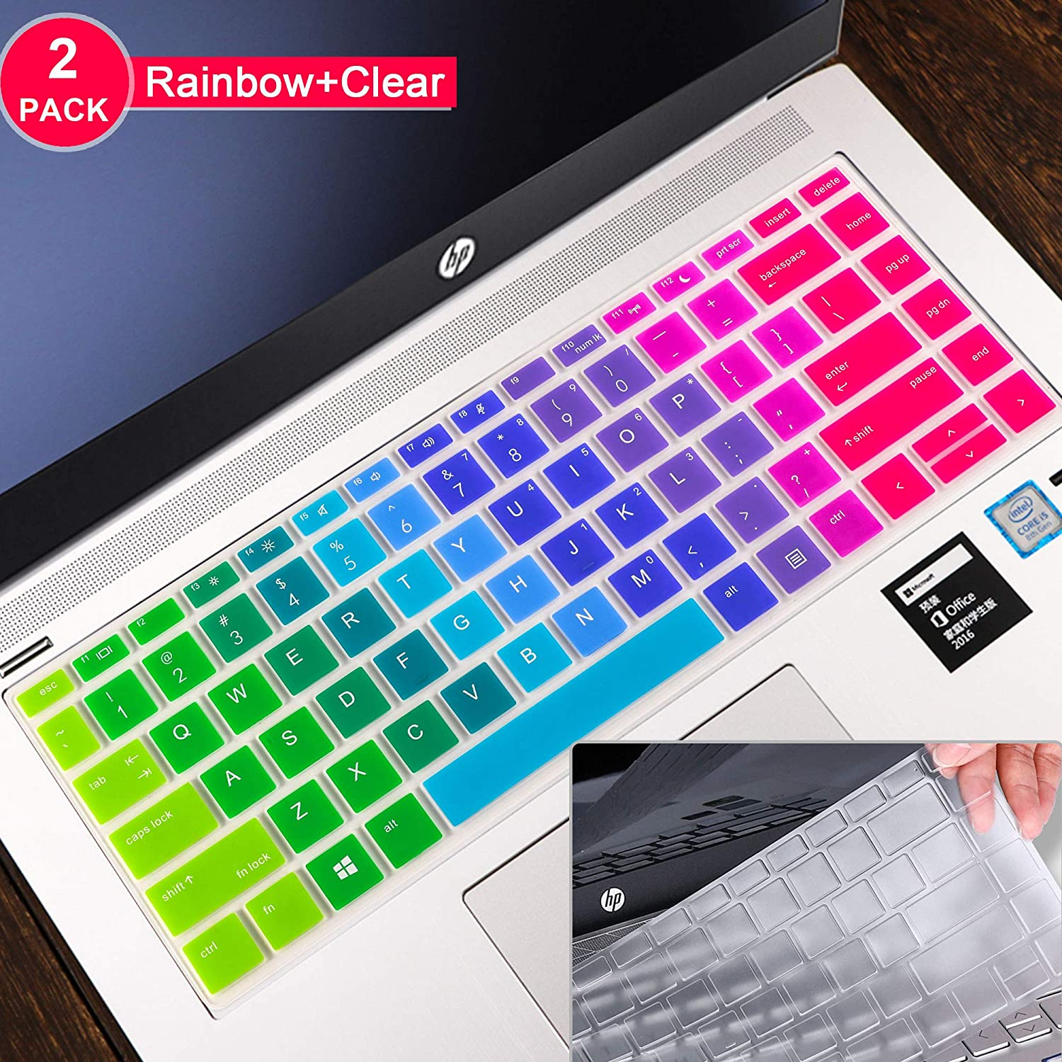 [2pcs] Lapogy Keyboard Cover Skin for ProBook 640 G4/440 G5/440 G6/445 G6,hp probook Keyboard Cover 14 inch,Ultra Thin Silicone Keyboard Protective Cover(Rainbow+Clear)