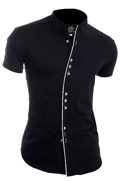 White Black ShirtVertical Stripes Cotton 100/% Grandad CollarFREE POSTAGE!