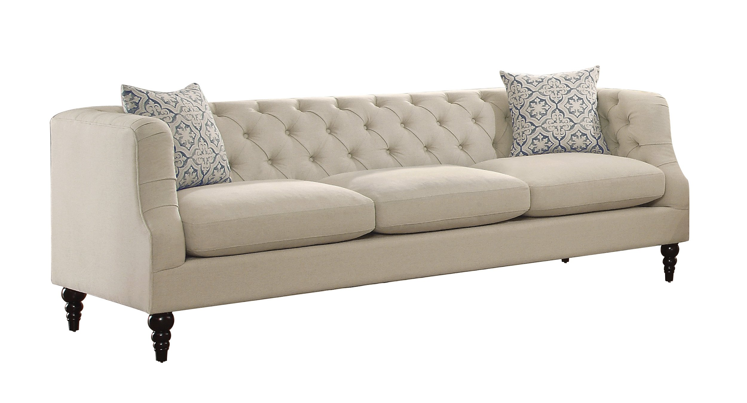 Homelegance Radley Button Tufted Sofa with Contour Arms and Two Throw Pillows, Beige by Homelegance