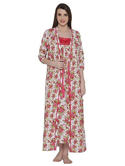 3be584052a Clovia Women's Cotton Rich Floral Print Nighty & Robe: Amazon.in: Clothing  & Accessories