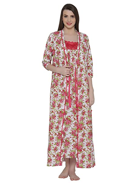 4fed2e75f1 Clovia Women s Cotton Rich Floral Print Nighty   Robe  Amazon.in  Clothing    Accessories