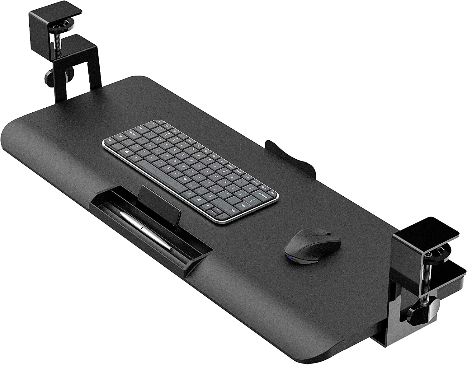Fenge Push-Pull Keyboard Drawer Under Desk C Clamp on Keyboard Tray Adjustable Ergonomic Design KT760001WB