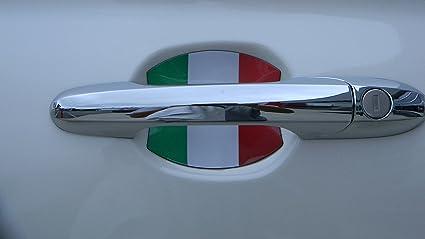 Fiat 500 Italian Flag Car Auto Door Handle Trim Molding Scratch Protector 2 Door Pack & Amazon.com: Fiat 500 Italian Flag Car Auto Door Handle Trim Molding ...