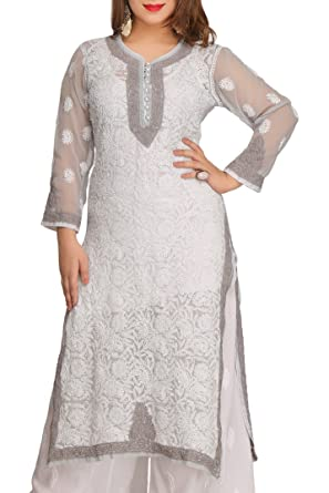 9d84c1376 ADA Lucknow Chikan Hand Embroidered Faux Georgette Kurti Kurta  (A246733 Grey)  Amazon.in  Clothing   Accessories