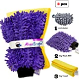 [3 piece] MicroCareful Premium Car Wash Mitt + free Towel and Duster, Professional Microfiber Lint-Free Scrath-Free Washing Kit for Vans, Taxis and Automobiles by RouteGurus