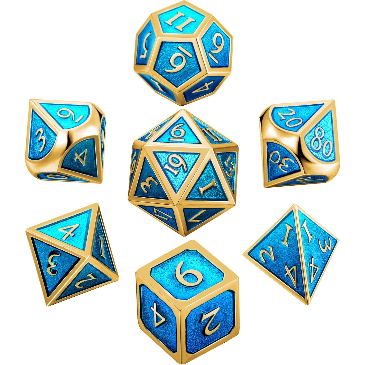 Hestya 7 Pieces Metal Dices Set DND Game Polyhedral Solid Metal D&D Dice Set with Storage Bag and Zinc Alloy with Enamel for Role Playing Game Dungeons and Dragons (Golden Cerulean) by Hestya