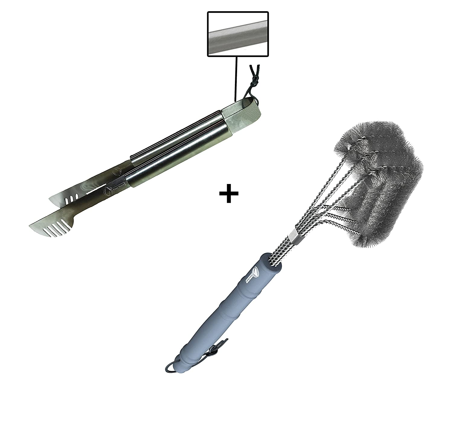 Amazon.com : Grill Tongs + BBQ Brush - ONLY 100% RUST PROOF DESIGN ...