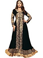 Craftliva Women Dress Material ( Black & Beige )