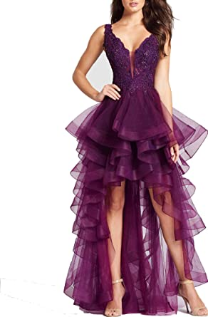 Ladsen Hi-Lo Designers Prom Dresses Purple US14 Size